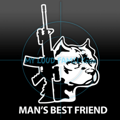 AR15 and Staffordshire Pit Bull Decal Sticker