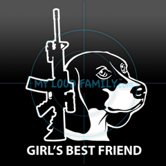 AR15 with Beagle Female Decal Sticker