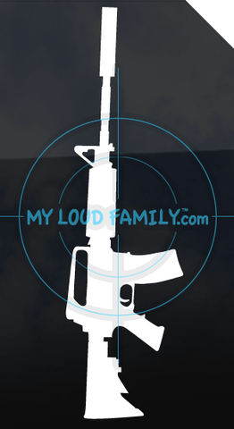 AR15 with Suppressor Decal Sticker