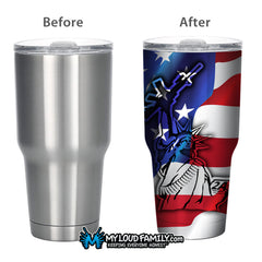 American Flag AR Lady Liberty 30 oz. Tumbler Full Wrap