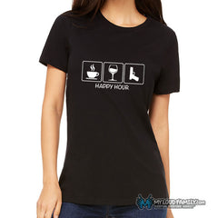Happy Hour (Coffee, Wine, Gun) Women Crew Neck T-Shirt White Design