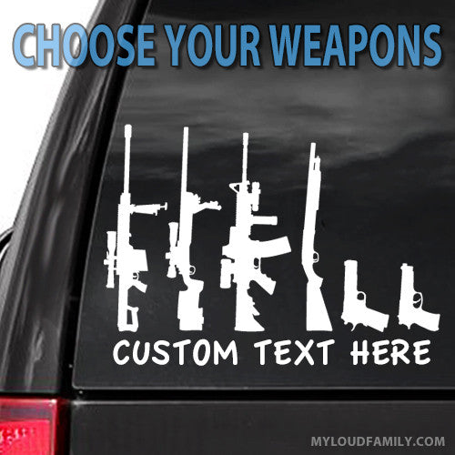 Create My Gun Family Decal Stickers