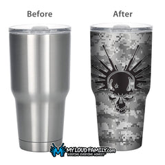 Digital Graphite Skull with Guns 30 oz. Tumbler Full Wrap