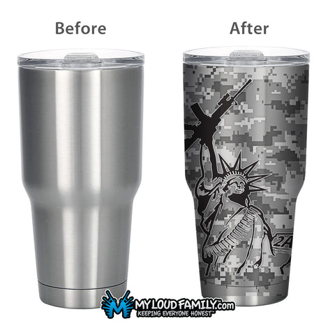 Digital Graphite Lady Liberty with AR 30 oz.Tumbler Full Wrap