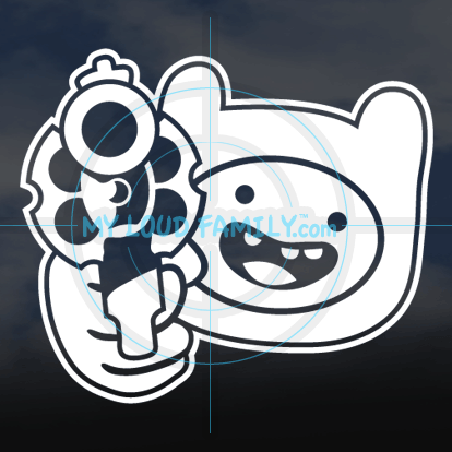 Adventure Time - Finn with Gun Decal Sticker