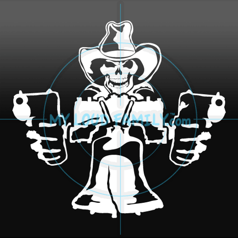 Liberty Bell with Skull and Guns Decal Sticker