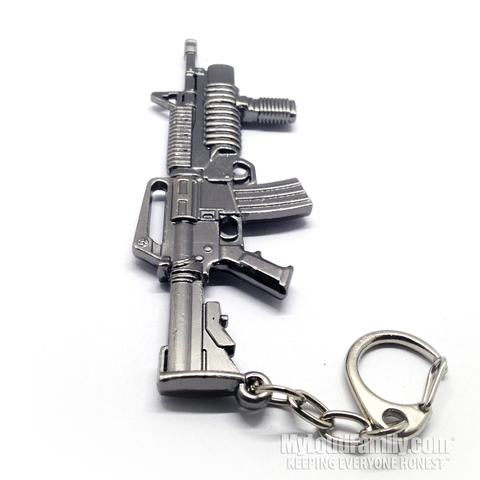 M4 with M203 Grenade Launcher Metal Keychain