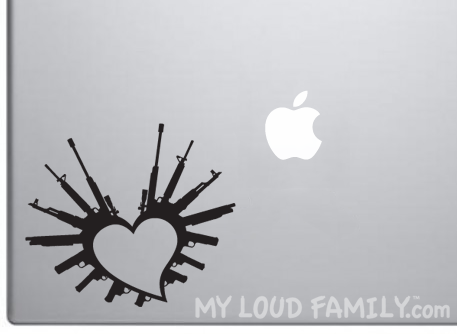 i Heart Guns Decal Sticker