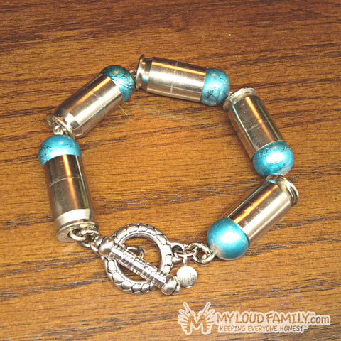 Silver Bullet Casing with Teal Beads