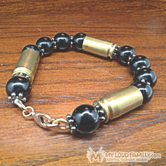 Brass Bullet Casing with Black Beads and Grey Charms