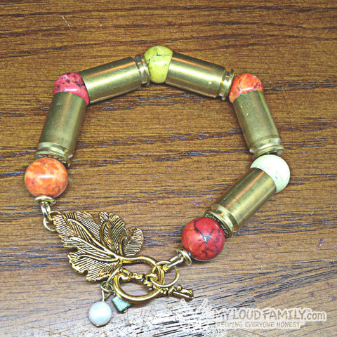 Brass Bullet Casing with Colorful Beads and Charms
