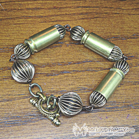 Brass Bullet Casing with Vintage Beads