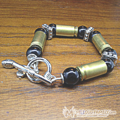 Brass Bullet Casing with Black Beads and Silver Charms