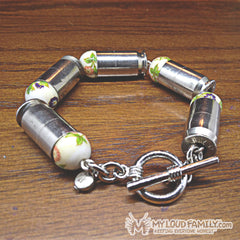 Silver Bullet Casing with White Sun Flower Beads