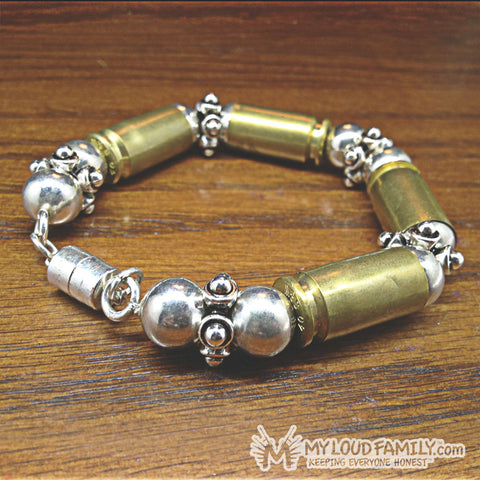 Brass Bullet Casing with Silver Beads and Charms