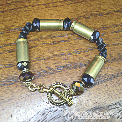 Brass Bullet Casing with Black Cut Crystal Beads and Rope