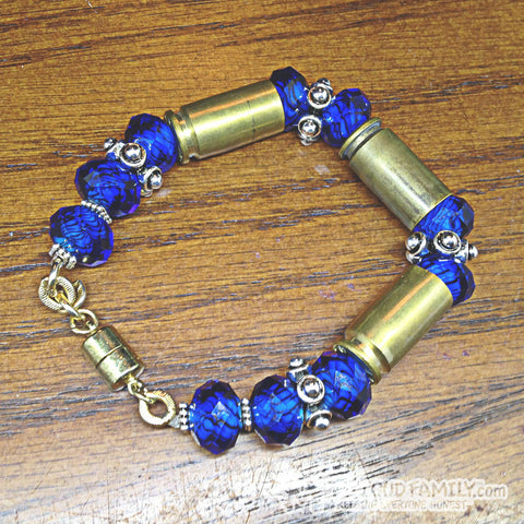 Brass Bullet Casing with Blue Cut Crystal Beads and silver Charms