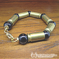 Brass Bullet Casing with Black Beads