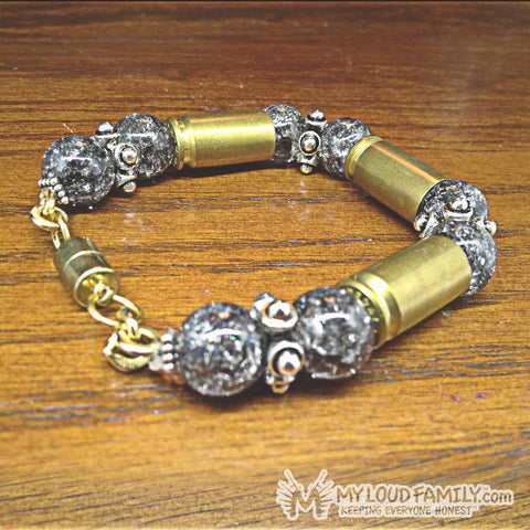 Brass Bullet Casing with Grey Beads and Charms