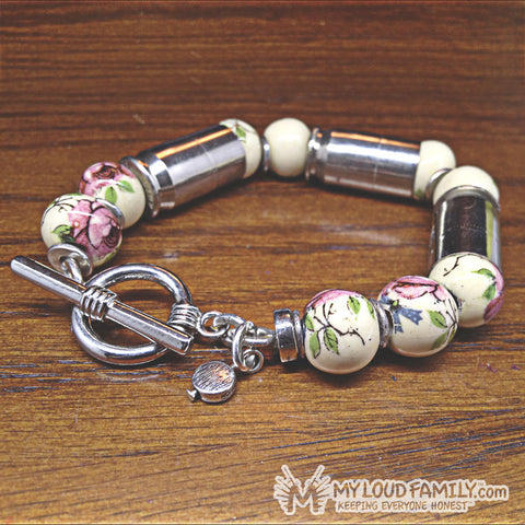 Silver Bullet Casing with White and Purple Rose Beads