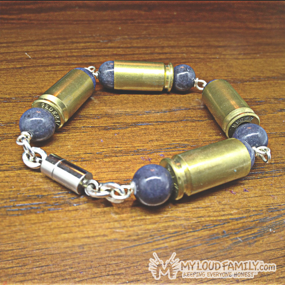 Brass Bullet Casing with Grey Beads
