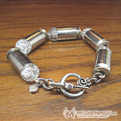 Silver Bullet Casing with Clear Crystal Beads