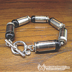 Silver Bullet Casing with Black Beads