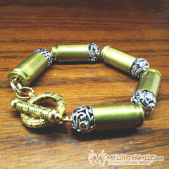 Brass Bullet Casing with Silver Design Beads