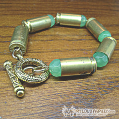 Brass Bullet Casing with Light Teal Crystal Beads