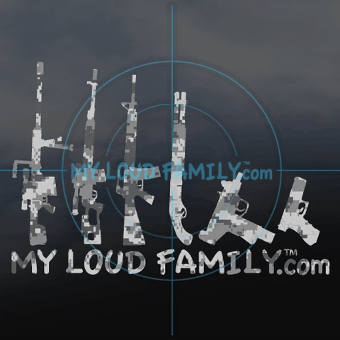 GRAPHITE DIGITAL CAMO GUN FAMILY DECAL STICKER SET
