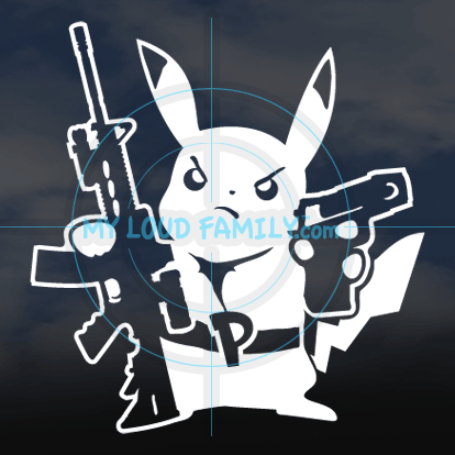 Pikachu with Guns Decal Sticker