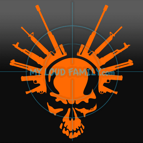 Skull with Guns Decal Sticker