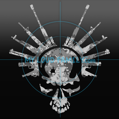 Skull with Bullet Hole and Guns Decal Sticker