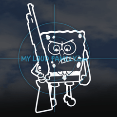 Spongebob with Shotgun Decal Sticker