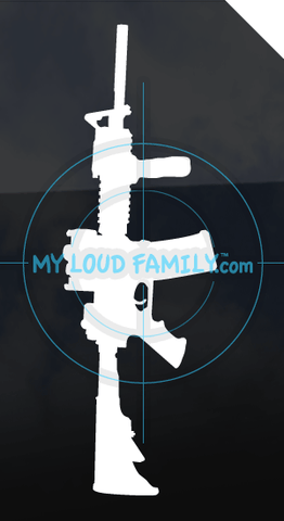 Stag Arms AR15 Model T2 with Red Dot Sight, Supressor and Front Grip Decal Sticker