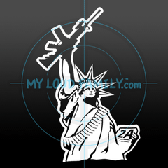 Statue of Liberty with AR Gun Decal Sticker
