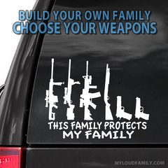 This Family Protects My Family Camo Pattern Gun Family Decal Stickers