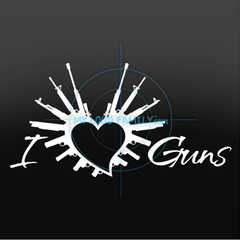 i Heart Guns with Text Decal Sticker