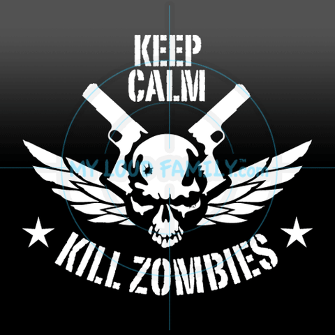 Keep Calm Kill Zombies Skull Decal Sticker