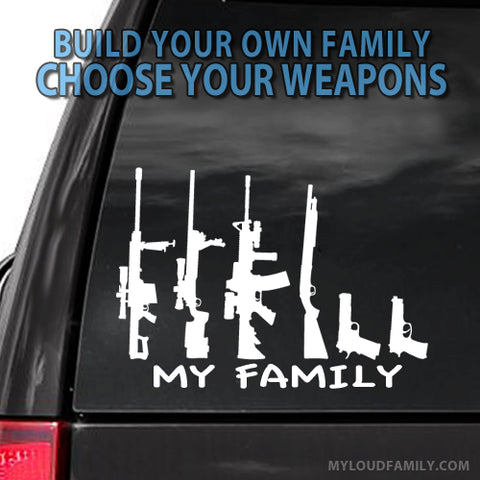 My Family - Camo Pattern Gun Family Decal Stickers