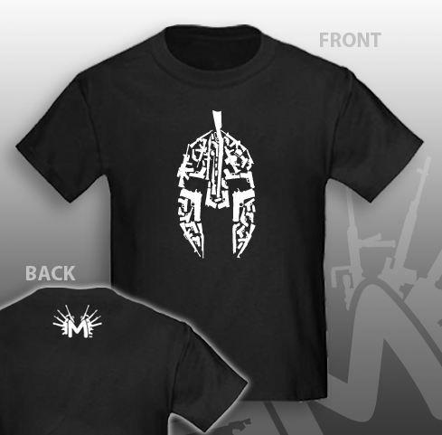 Spartan Helmet made out of Weapons T-Shirt