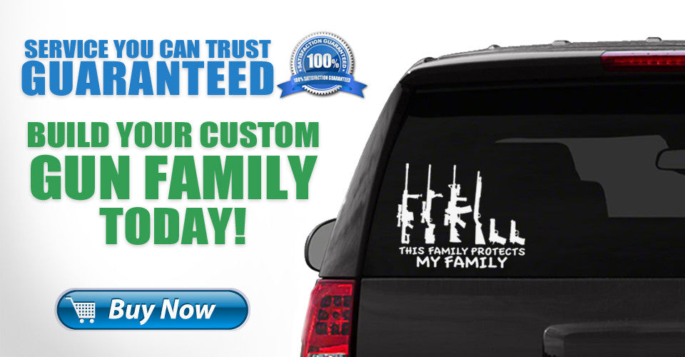 Gun Family Vinyl Decal Stickers, Build Custom My Loud Family Stick Figure Stickers