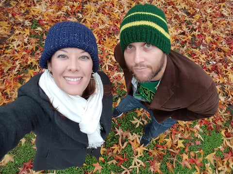 Dan and Katie playing in the leaves in Eugene Oregon