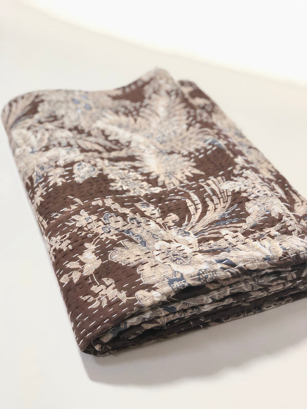 Floral Kantha Throw