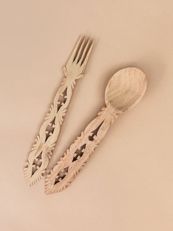 hand carved wooden serving set #2