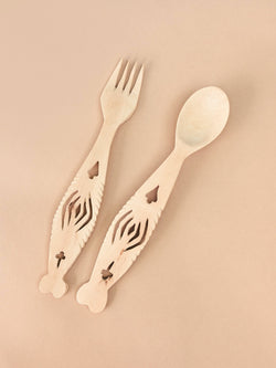 hand carved wooden serving set