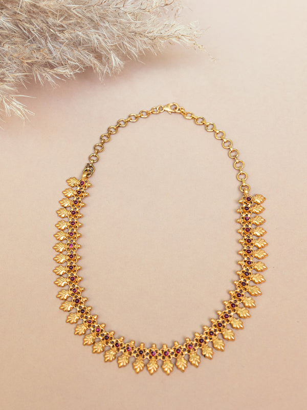 gold and glass necklace