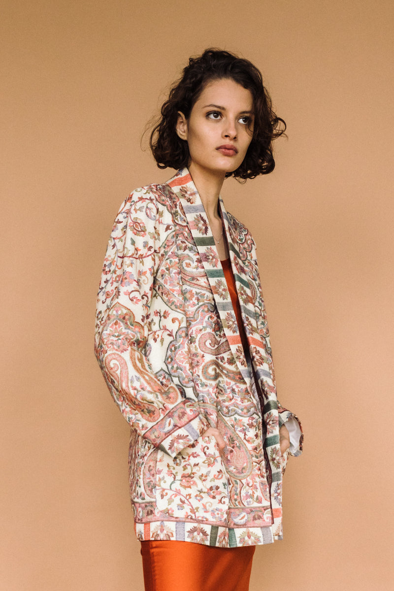 Saheli Kamla Kani Wool Wrap Coat