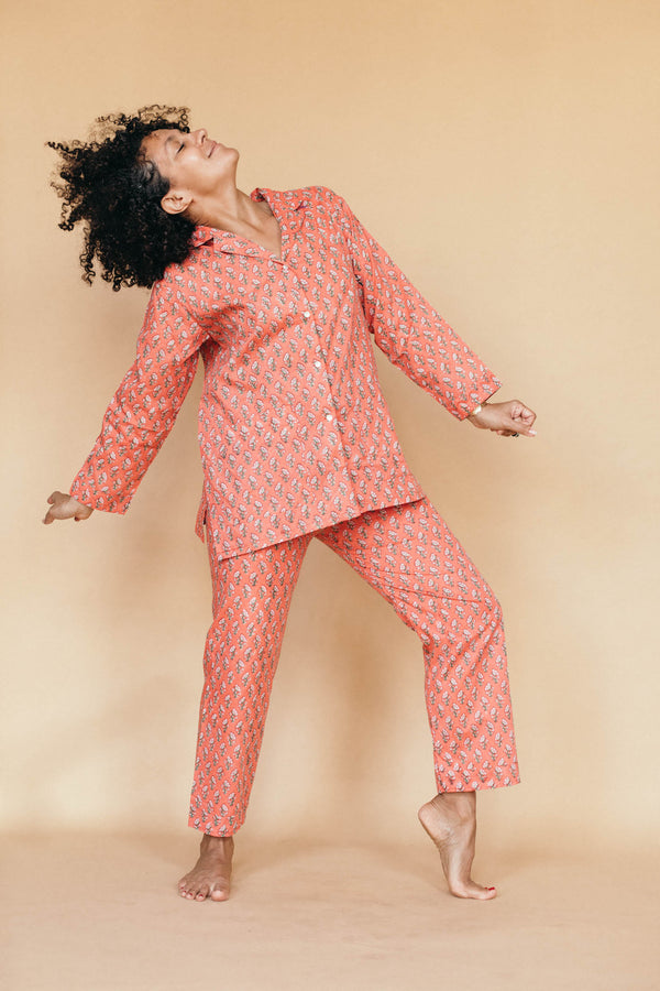 block printed muslin oversized pajama set