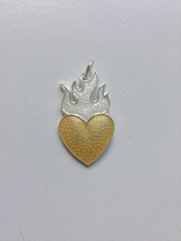 HEART WITH FLAMES by Camilla Prytz yellow/white